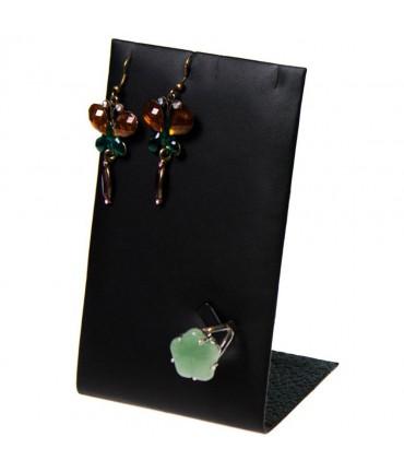 Mini support bijoux presentoir pour parure simili cuir 13 cm - Noir