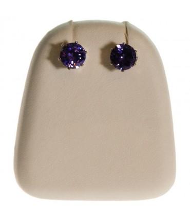 Mini support boucles d'oreilles simili cuir (1 paire) H 4 cm - Ivoire