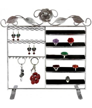 Porte bijoux cadre mixte Lorraine pour bracelet bague boucle - Gris patiné