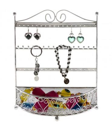 Porte bijoux cadre mixte Corbeille avec panier. - Gris patiné