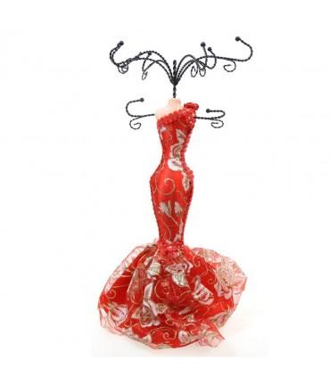 Présentoir pour bracelet poupée robe rouge