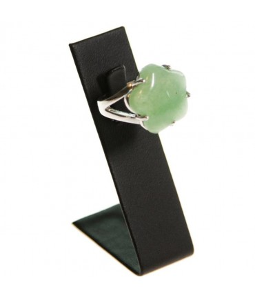 Mini présentoir bague long simili cuir (1 bague) H 6 cm - Noir