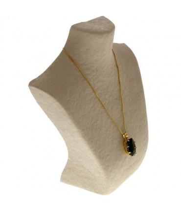 Buste porte collier en papier mâché 25 cm - Beige