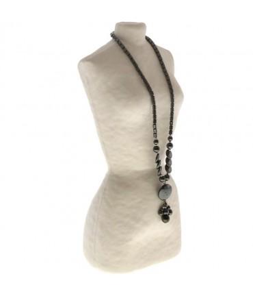 Buste porte collier long sautoir femme papier maché 28 cm - Beige