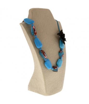 Buste porte collier long sautoir femme papier maché 37 cm