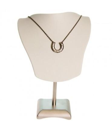 Buste porte collier et chaines simili cuir H 19 cm - Beige