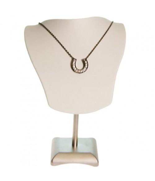Buste porte collier et chaines simili cuir H 19 cm