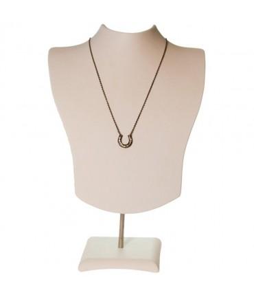 Buste porte collier et chaines simili cuir H 14 cm - Beige
