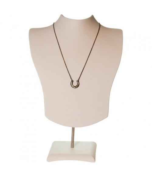 Buste porte collier et chaines simili cuir H 14 cm