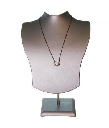 Buste porte collier et chaines simili cuir H 20 cm - Argenté