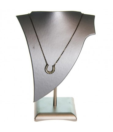 Buste presentoir collier Pointe simili cuir H 19 cm
