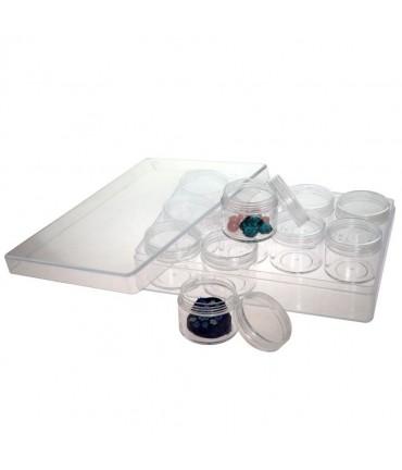 Boite de rangement plastique pour perles et pierres (L) 163 x (P) 122 x (H) 34