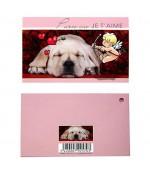Carte de vœux animaux (10 pièces) - Rose pale