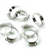 Supports à bagues réglables pour création bijoux (10 pièces) - Gris