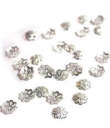 Calottes coupelles intercalaires fleur (50 pièces) - Gris