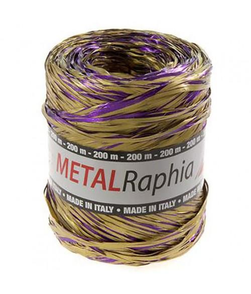 Bolduc emballage cadeau metal raphia bicolore (200 mètres)