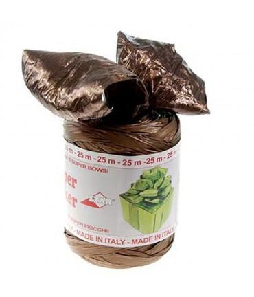 Bolduc raphia emballage cadeau brillant uni (25 mètres) - Marron