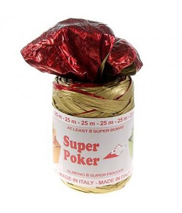 Bolduc raphia emballage cadeau brillant bicolore (25 mètres) - Rouge