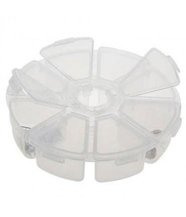 Boite de rangement plastique ronde 8 compartiments - Translucide