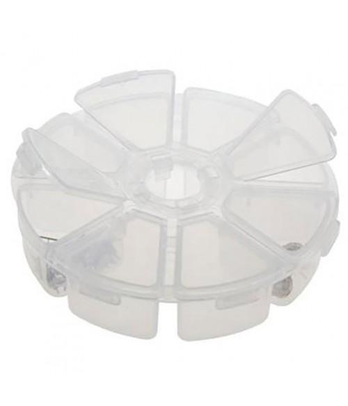 Boite de rangement plastique ronde 8 compartiments