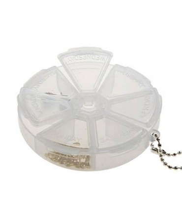Boite de rangement plastique ronde 7 compartiments - Translucide