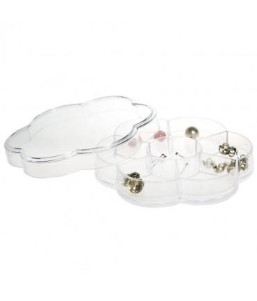 Boite de rangement plastique fleur 7 compartiments - Transparent
