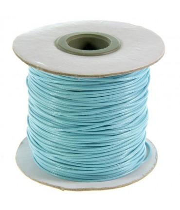 Fil coton ciré 1 mm en bobine de 80 mètres - Bleu clair