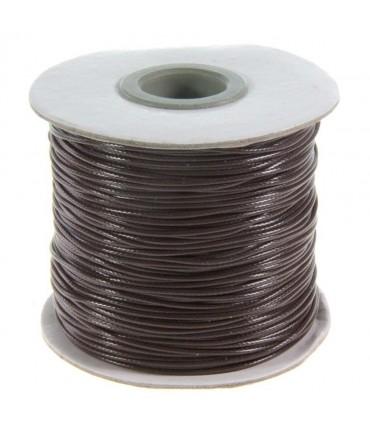 Fil coton ciré 1 mm en bobine de 80 mètres - Marron