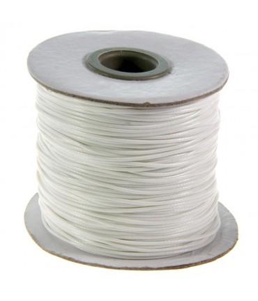 Fil coton ciré 1 mm en bobine de 80 mètres - Blanc