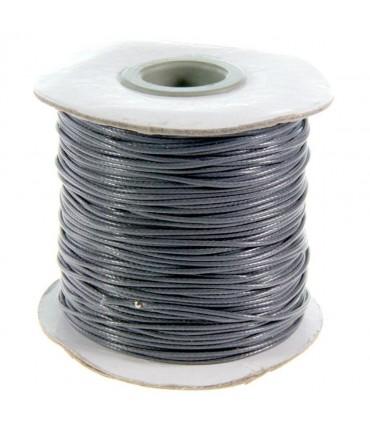 Fil coton ciré 1 mm en bobine de 80 mètres - Gris