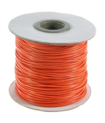 Fil coton ciré 1 mm en bobine de 80 mètres - Orange