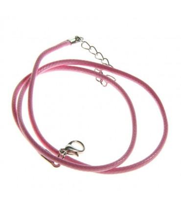 Colliers tour de cou 1,5 mm coton ciré fermoir mousqueton et chaînette (5 pièces) - Rose