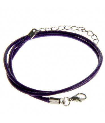Colliers tour de cou 1,5 mm coton ciré fermoir mousqueton et chaînette (5 pièces) - Violet