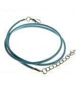 Colliers tour de cou 1,5 mm coton ciré fermoir mousqueton et chaînette (5 pièces) - Bleu clair