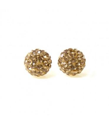 Perles shamballa rondes 50 strass en cristal 8 mm (5 pièces) - Topaze fumé