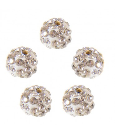 Perles shamballa rondes 50 strass en cristal 8 mm (5 pièces) - Blanc