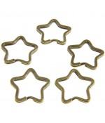 Anneaux porte clé Etoile (5 pièces) - Bronze