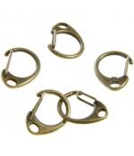 Mousqueton anneau porte clé (5 pièces) - Bronze