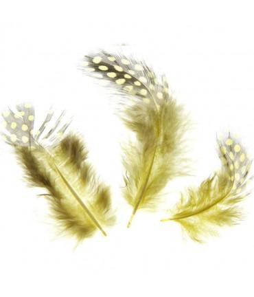 Plume de poule colorée (20 pièces) - Jaune