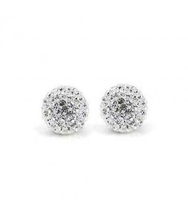 Perles shamballa rondes à strass cristal 12 mm (5 pièces) - Blanc