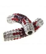Perles shamballa tubes en cristal bicolores 45 mm (1 pièce)