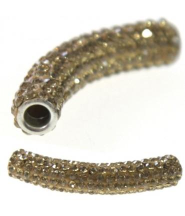 Perles shamballa tubes pierre de cristal 45 mm (1 pièce) - Topaze fumé