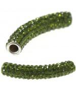 Perles shamballa tubes pierre de cristal 45 mm (1 pièce) - Olive