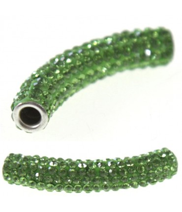 Perles shamballa tubes pierre de cristal 45 mm (1 pièce) - Vert clair
