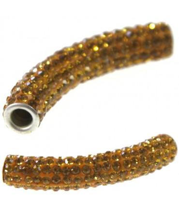 Perles shamballa tubes pierre de cristal 45 mm (1 pièce) - Doré