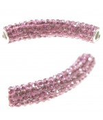 Perles shamballa tubes pierre de cristal 45 mm (1 pièce)