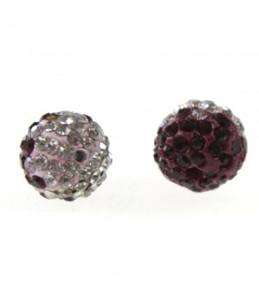 Perles shamballa rondes bicolores dégradées 10 mm (5 pièces) - Bordeaux