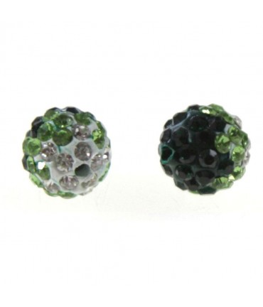 Perles shamballa rondes bicolores dégradées 10 mm (5 pièces) - Emeraude