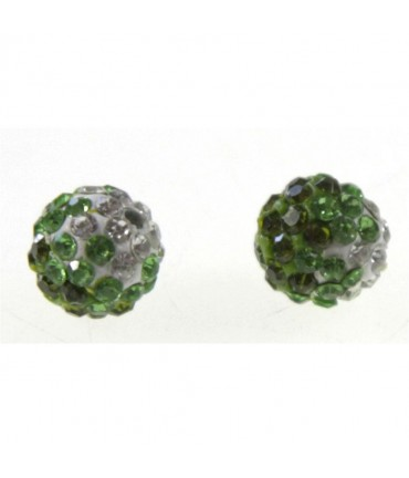 Perles shamballa rondes bicolores dégradées 10 mm (5 pièces) - Olive