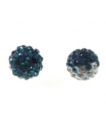 Perles shamballa rondes bicolores dégradées 10 mm (5 pièces) - Zircon bleu